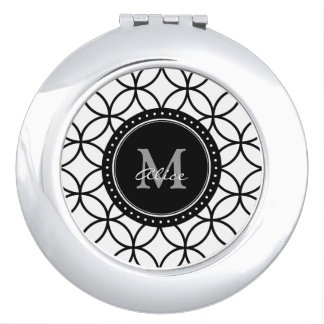 Monogram | Classic White Black Abstract Circles Makeup Mirrors