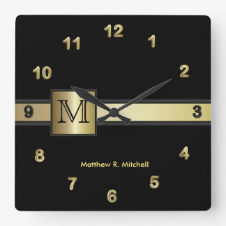 Monogram Classy Black and Gold  Executive Wall Clocks