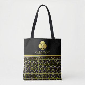 Monogram Classy Black Gold Card Suits Clover Tote Bag