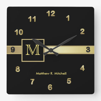 Monogram Classy Executive Square Wall Clock