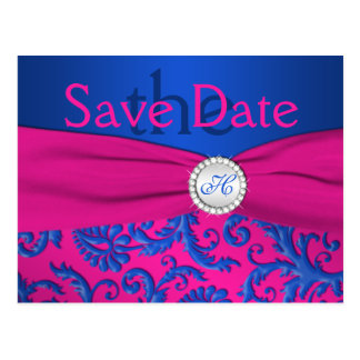 Monogram Cobalt and Fuchsia Save the Date Card