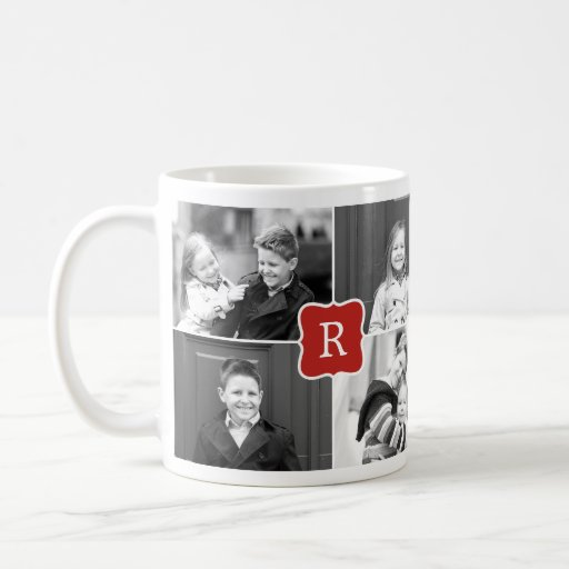 Monogram Collage Custom Photo Mug - Red Mug