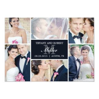 "Monogram Collage Wedding Announcement - Black 5"" X 7"" Invitation Card"