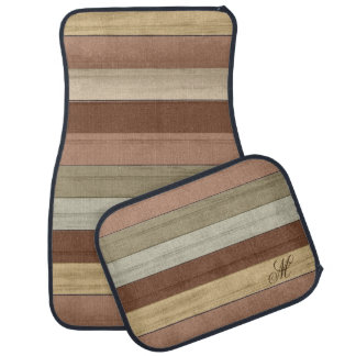 Monogram Color Weathered Wood Car Mat
