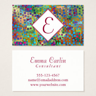 Monogram, Colorful Abstract Digital Art w/ Squares Business Card