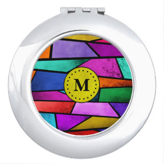 Monogram Colorful Abstract Gold Compact Mirror