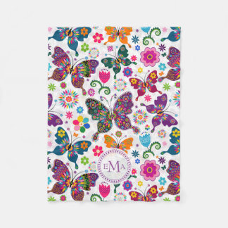 Monogram Colorful Butterflies & Flowers Pattern Fleece Blanket