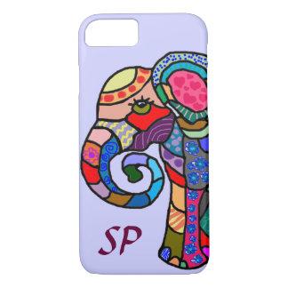 Monogram Colorful Folk Art Elephant Portrait iPhone 7 Case