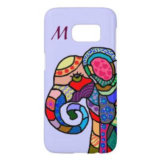 Monogram Colorful Folk Art Elephant Portrait Samsung Galaxy S7 Case