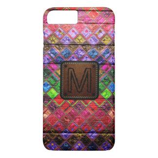 Monogram Colorful Mosaic Pattern Wood Look iPhone 7 Plus Case