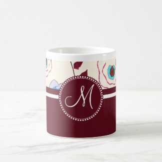 Monogram Colorful Spring Flowers Birds Mulberry Coffee Mug