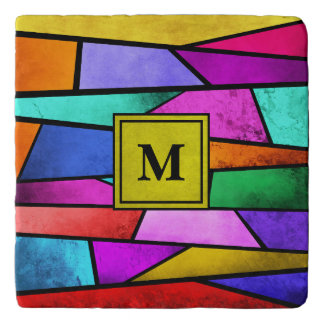 Monogram Colorful Stained Glass Bold Stone Trivet