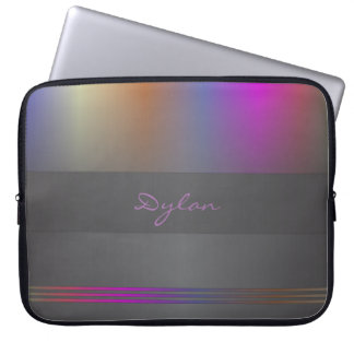 Monogram colour spectrum on black laptop sleeve