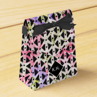Monogram colourful criss cross weave pink black party favor boxes