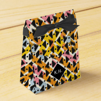 Monogram colourful criss cross weave yellow black party favor boxes