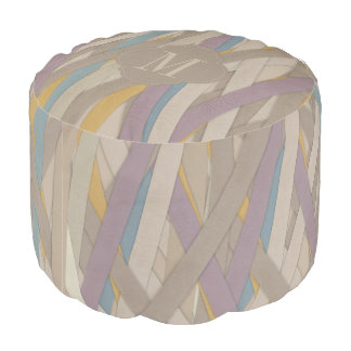 Monogram colourful leather strapes pouf