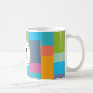 monogram & colourful patterned coffee mug