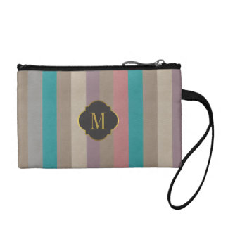 Monogram colourful stripes coin purse