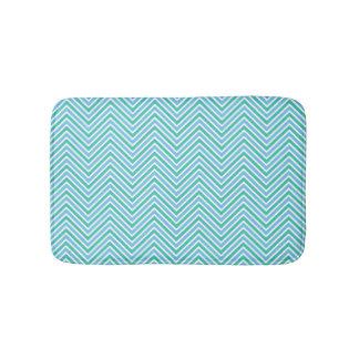 Monogram Cool Pastel Chevron Bath Mat