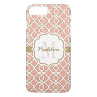 Monogram Coral and Gold Quatrefoil iPhone 7 Plus Case