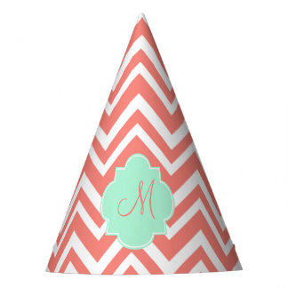 Monogram Coral and White Chevron with Mint Green Party Hat
