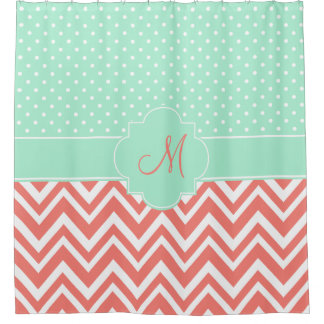 Monogram Coral Chevron with Mint Polka Dot Pattern