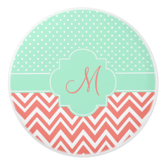 Monogram Coral Chevron with Mint Polka Dot Pattern Ceramic Knob
