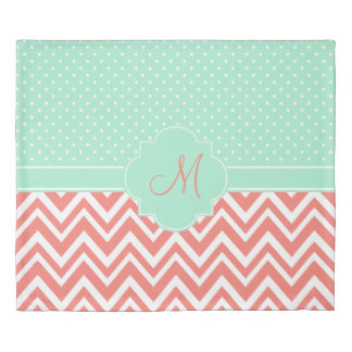 Monogram Coral Chevron with Mint Polka Dot Pattern Duvet Cover