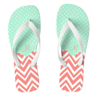 Monogram Coral Chevron with Mint Polka Dot Pattern Flip Flops