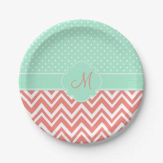 Monogram Coral Chevron with Mint Polka Dot Pattern Paper Plate