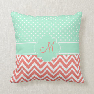 Monogram Coral Chevron with Mint Polka Dot Pattern Throw Pillow