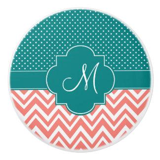 Monogram Coral Chevron with Teal Polka Dot Pattern Ceramic Knob