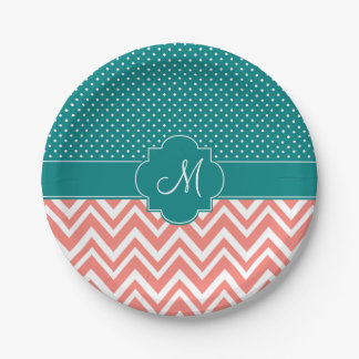 Monogram Coral Chevron with Teal Polka Dot Pattern Paper Plate
