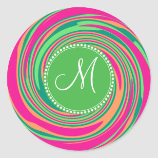 Monogram Coral Hot Pink Green Whirlpool Swirl Classic Round Sticker