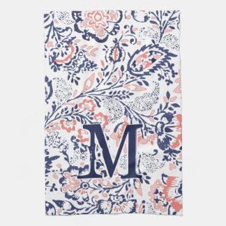 Monogram Coral Navy Peach Vintage Floral Pattern Hand Towel