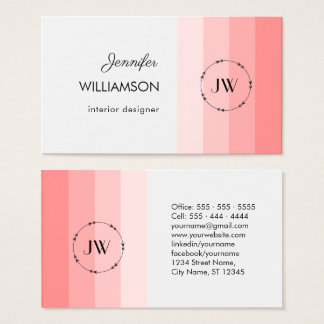 Monogram Coral Pastel Professional Business Card