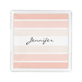 Monogram Coral Pastel Stripes Square Tray