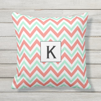Monogram Coral Pink and Mint Green Chevron Pattern Throw Pillow