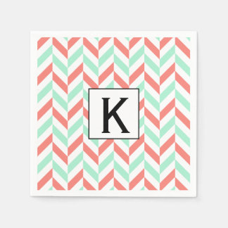 Monogram Coral Pink and Mint Green Herringbone Paper Napkins