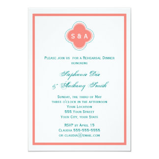 Monogram Coral Pink and Teal Quatrefoil Wedding Card