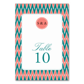 Monogram Coral Pink and Teal Zigzag Pattern Table Card