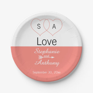 Monogram Coral Pink and White Color Block Wedding 7 Inch Paper Plate