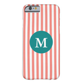 Monogram Coral Pink and White Stripes Barely There iPhone 6 Case