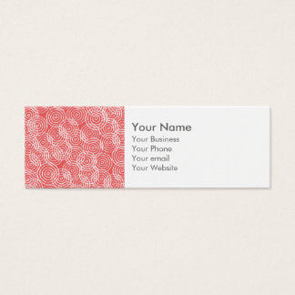Monogram Coral Pink Ikat Circles Geometric Pattern Mini Business Card
