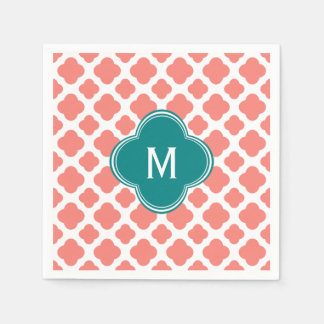Monogram Coral Pink Quatrefoil Pattern with Teal Disposable Napkin