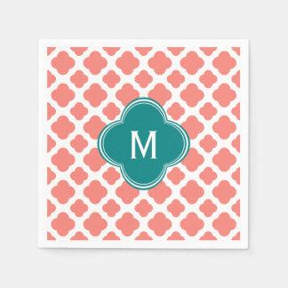 Monogram Coral Pink Quatrefoil Pattern with Teal Napkin