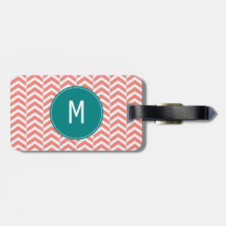 Monogram Coral Pink with Teal Chevron Pattern Luggage Tag