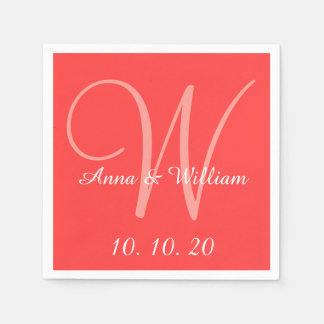 Monogram Coral Red Colored Wedding Paper Napkins