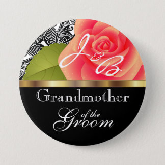 Monogram Coral Rose Wedding Party Design