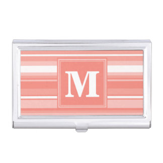 Monogram coral stripes business card case